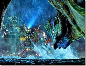 Kaiju Otachi prepares to attack the battle-ready Crimson Typhoon