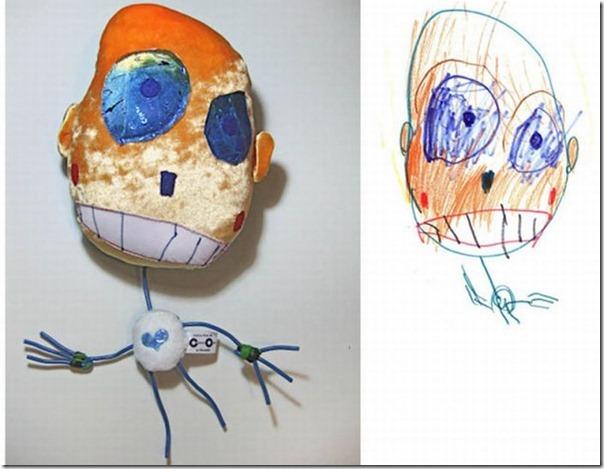 Brinquedos de pelúcia feitos a partir de desenhos de crianças (2)