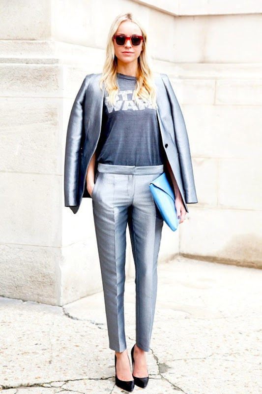 STREET-STYLE-METALLIC-SUITS-PARIS-FASHION-WEEK-SS-2013-SILVER-STAR-WARS-TEE-TSHIRT-ACETATE-SQUARE-SUNGLASSES-BLUE-CLUTCH-BLACKPUMPS-ELLE-MAGAZINE