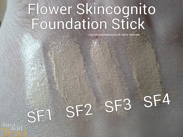 Flower Beauty SkinCognito Foundation Stick (by Drew Barrymore) Review & Swatches of Shades- SF1, SF2, SF3, SF4