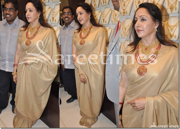 Hema_Malini_Gold_Saree