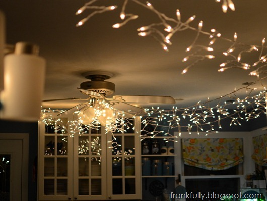 twinkle lights in the kitchen