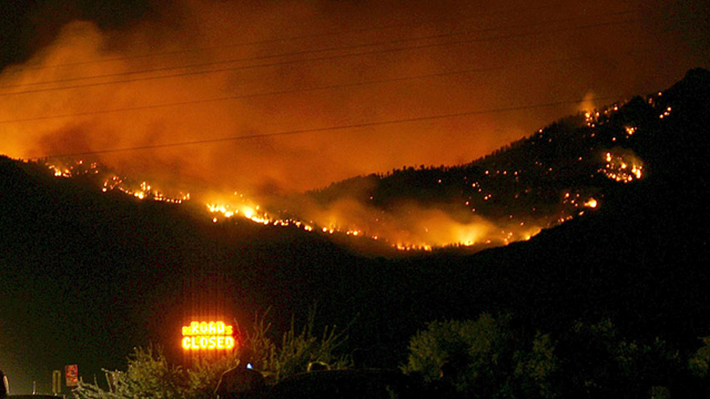 The Dean Peak fire in Arizona has burned nearly seven square miles after it was started by lightning in the Hualapai Mountains, on 29 June 2013. Photo: USDA Forest Service / Associated Press