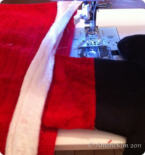 Sew Santa's Boots to towel