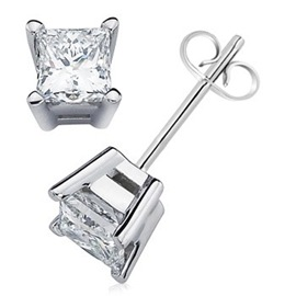 Princess Diamond 4 Prong Basket Studs in 14K White Gold