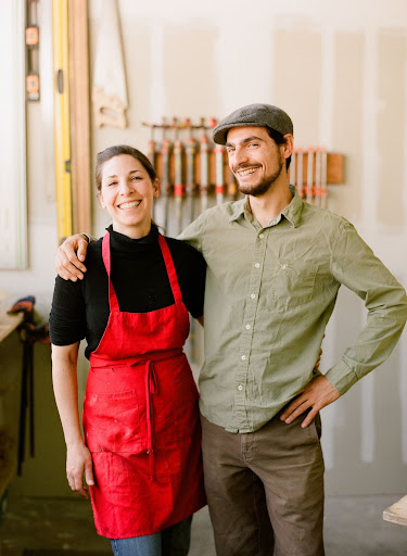 Two of the masterminds behind this series: Gabby from Cake Coquette and her brother, Sebastian, who designed and created the sleek cake stand.