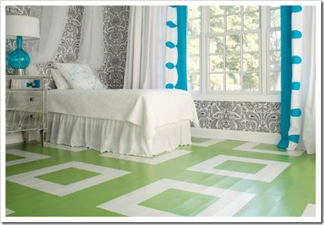 piso pintado quarto