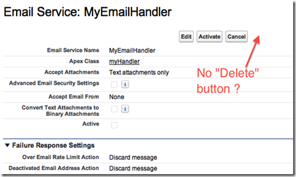 Salesforce email service no delete button visisble