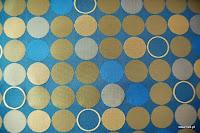 Ekskluzywna trudnopalna tkanina w kółka. Na zasłony, poduszki, narzuty, dekoracje. Niebieska, brązowa.