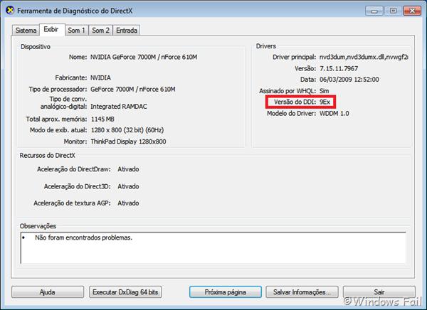 Identificando a versão do DirectX que sua placa de vídeo suporta