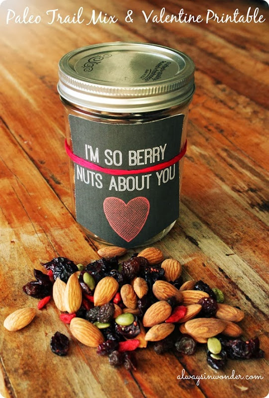 Paleo trail mix and free valentine printable from alwaysinwonder