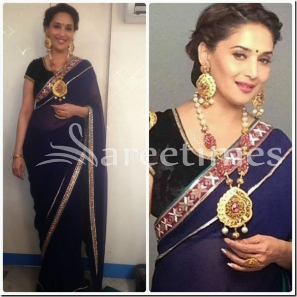 Madhuri_Dixit_Blue_Georgette_Saree