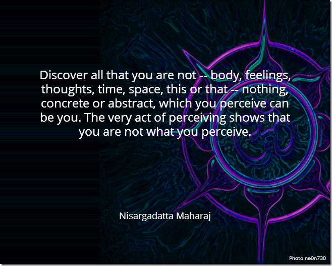 Discover all that you are not -- body, feelings, thoughts, time, space, this or that -- nothing concrete or abstract, which you perceive can be you. The very act of perceiving shows that you are not what you perceive.