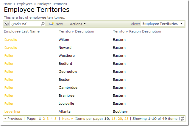 Employee Territories data view with Page Size controls enabled.