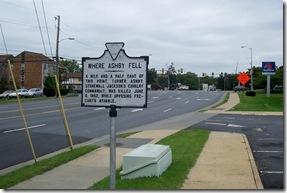 Where Ashby Fell marker A-30 along U.S. Route 11 in Harrisonburg, VA