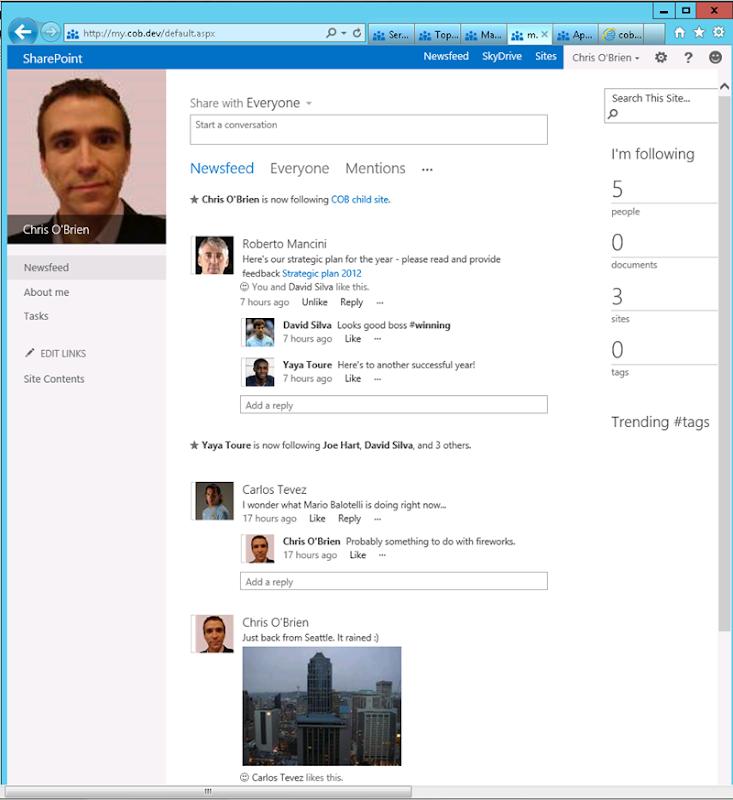 SharePoint 2013 Newsfeed - large