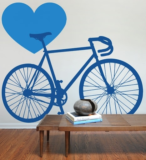 This bike wall decal is a good option for someone who just doesn't have room for a real bike. (Bike Love decal, blik.com)