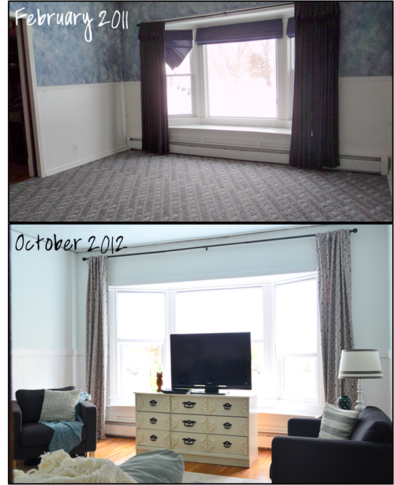 living room then and now