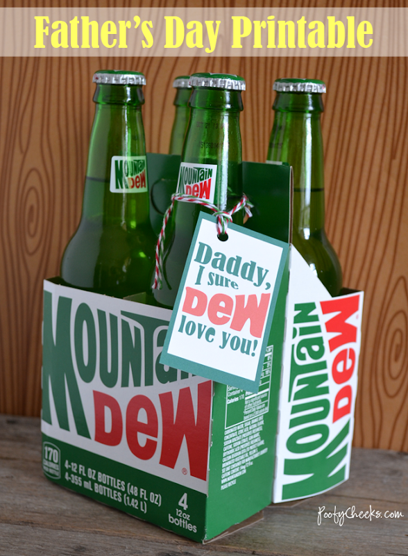 Father's Day Printable: Mountain Dew Tag #father #gift #printable