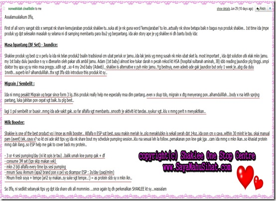 Testimonial_Shaklee_Confinement_Breastfeeding_Set_Milk Booster_SayaMahuSihat_Email