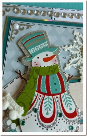 jewelled snowman Christmas Card