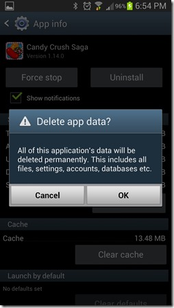Candy Crush Saga - Android delete app data