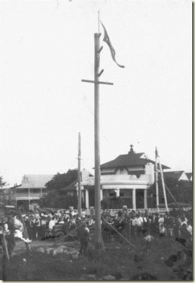 Erecting the first light pole in Mackay