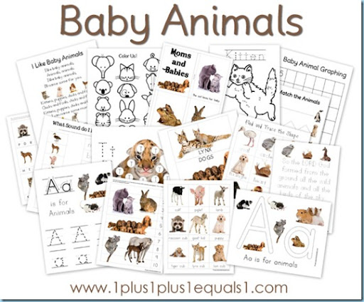 image regarding Baby Animals Printable named Child Pets Printable Pack totally free - 1+1+1\u003d1