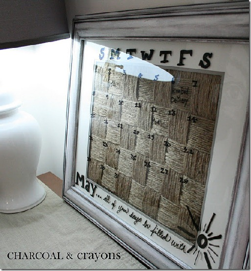 diy projects with jute--make a framed woven jute dry erase calendar
