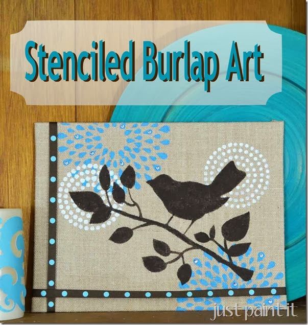 Stenciled Burlap plus Hometalk Michael's Pinterest Party!