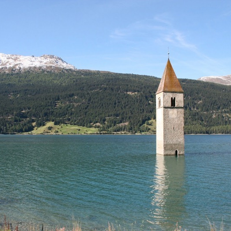 Lake Reschensee and the Drowned Village of Graun