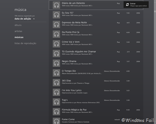 Windows 8 - Aplicativo Música