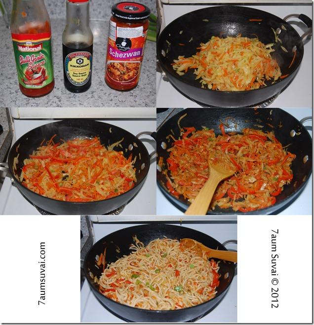 Schezwan Veg Hakka noodles process2
