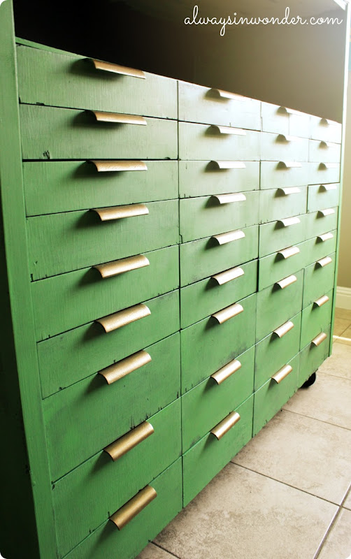 rustic industrial green and brass storage piece from alwaysinwonder