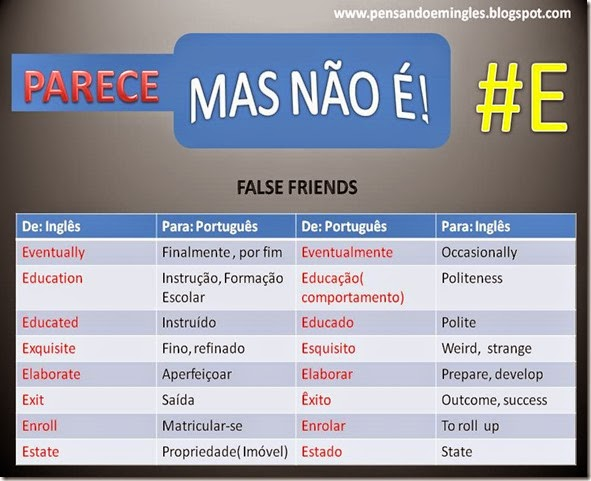 E FALSE FRIENDS