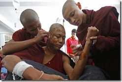 Monks attacked Monywa Burma
