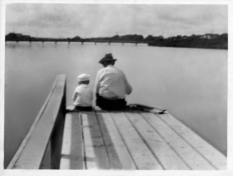 Photo of Edgar Cayce and T.J. Davis, at the fishing pier on Holly Lake, Virginia Beach, August 31, 1940.jpg