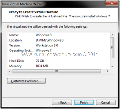 8. Click Finish to Create the VM