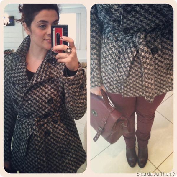 look casaco lã calça colorida burgundy bota e bolsa renner