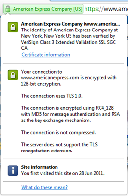 American Express certificate summary