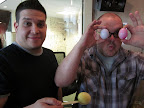Our crafty dudes Steve and Chris had fun coloring - and then eating - the eggs.