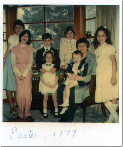 LtoR: Erin, Karen, John, Elizabeth, Eileen, my mom Betty, Maria on her lap, Deirdre.
