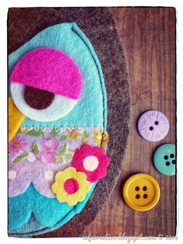 cafe creativo - big shot - gufo feltro cucito - owl felt sew