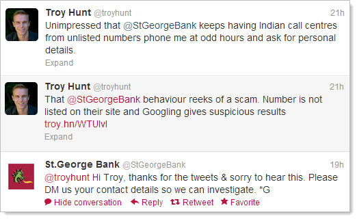 Unimpressed that @StGeorgeBank keeps having Indian call centres from unlisted numbers phone me at odd hours and ask for personal