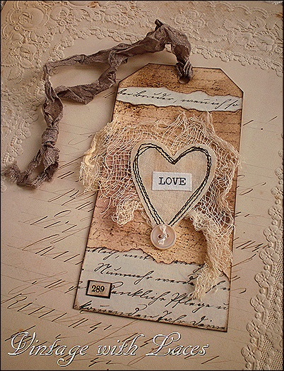 Tag for Valentine's Day by Vintage with Laces