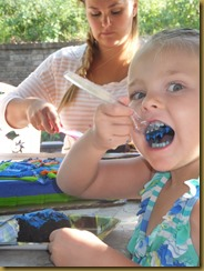 Chloe eating Connor's cake