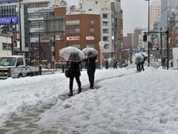 Pedestres caminham em rua coberta de neve em Tóquio, neste sábado (15)