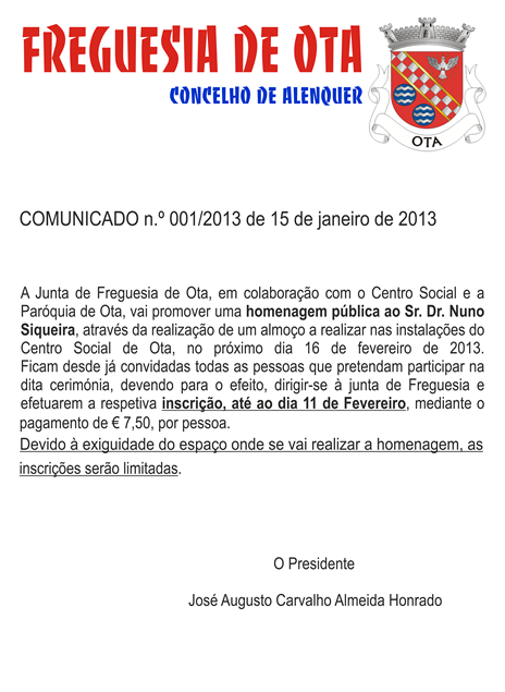 Comunicado 001-2013 da JFO