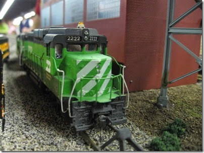 IMG_5444 Burlington Northern GP30 #2222 on the LK&R HO-Scale Layout at the WGH Show in Portland, OR on February 17, 2007