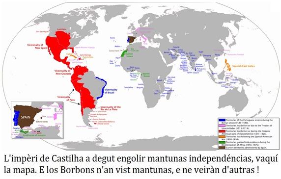 Mapa de las independéncias de l'Impèri Castilhan